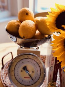 Lemons & Sunflowers on a Kitchen Scale