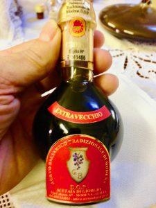 Bottle of balsamic vinegar aged for 15 years in barrels