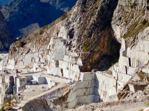 Carrara marble quarry with mountains in the background