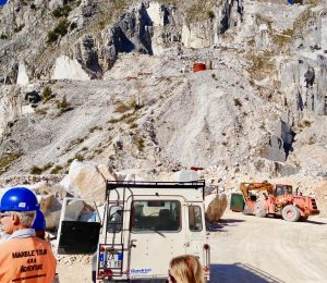 arriving by Jeep to the top of the mountain and quarry where the Carrara marble is harvested