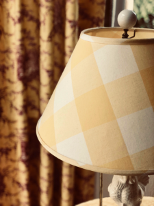 Buffalo Plaid Lampshade with Toile Draperies